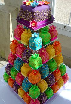 colorful mini cakes in a tower