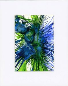 Abstract flower painting alcohol inks on yupo paper and matted Blue stylized flowers