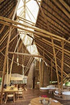 Open bamboo house design Bamboo Architecture, Tropical Architecture, Sustainable Architecture, Sustainable Design, Architecture Details, Bamboo Restaurant, Bamboo Bamboo, Bamboo House Design, Bamboo Building