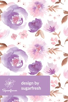 Peony Garden in Violet Watercolor Floral custom fabric by sugarfresh for sale on Spoonflower Floral Wallpaper Iphone, Fabric Wallpaper, Flower Wallpaper, Purple Peonies, Floral Printables, Peonies Garden, Floral Throw Pillows, Watercolours, Floral Flowers