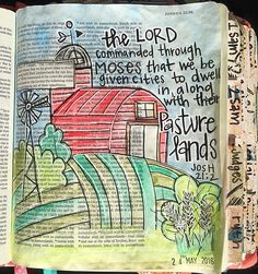 Continuing in my study with Joshua - the land has been appointed and the tribes are given pastures  . #illustratedfaith #art #bibleart #bible #biblejournaling #biblejournalingcommunity #biblejournalingdaily #journalingbible #journalingbiblecommunity #joshua21 #watercolor #neocolors2 #paint #handlettering #craftedword #shepaintstruth #documentedfaith by craftinginthequeencity