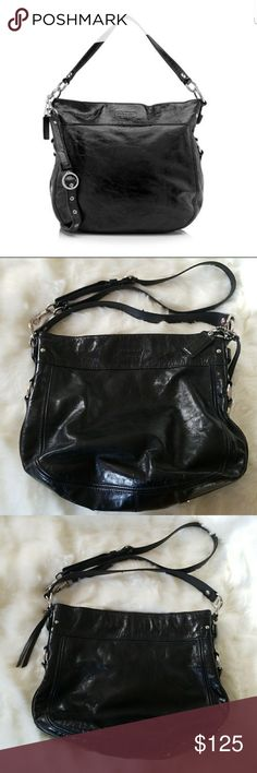 "COACH ZOE PATENT LEATHER CONVERTIBLE HOBO Excellent used condition!! Gorgeous black patent leather, only tiny flaw shown in last picture.   Width (at base): 13""  Height: 12""  Depth: 4.5""  Handle Drop: 9.5""  Shoulder Strap Drop: Adjustable, 20""   Product Details  Type of Material: Patent Leather  Color: Black  Lining: Purple satin  Pockets: Interior Zip, Three interior open  Hardware: Silver-tone  Closure: Zipper Coach Bags Hobos"