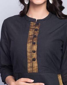 Neck Designs to Try with Plain Kurtis - Indian Fashion Ideas Salwar Neck Designs, Churidar Designs, Neck Designs For Suits, Kurta Neck Design, Sleeves Designs For Dresses, Neckline Designs, Blouse Neck Designs, Simple Kurti Designs, New Kurti Designs
