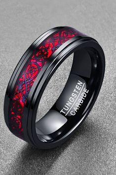 black wedding rings Tungsten Carbide Dragon Ring For Men/Women Cool Rings For Men, Rings Cool, Red Opal, Dragon Ring, Morganite Engagement, Engagement Rings, Amethyst Geode, Punk, Wedding Bands