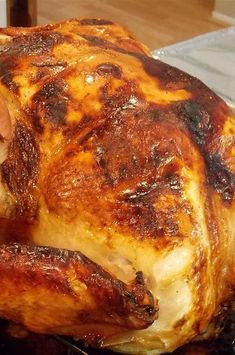 "Lauren's Apple Cider Roast Turkey | ""Very simple and easy to make. Flavor was delicious and meat very moist."" #thanksgiving #thankgivingrecipes #thanksgivingturkey #turkeyrecipes #turkey"