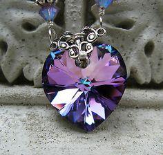 Light Lavendar Rose Crystal Heart Pendant Necklace