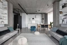 The Deep Gray project designed in 2020 by Azovskiy + Pahomova is a minimalist apartment located in the Ukrainian city of Kryvyi Rih.