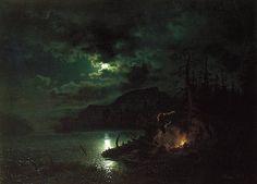 Hans Gude Skogsjø i måneskinn, 1853 (Forest lake in the light of the moon) Nocturne, A4 Poster, Poster Prints, Moonlight Painting, Romantic Paintings, Soul Art, Vintage Artwork, Fantastic Art, Light Art