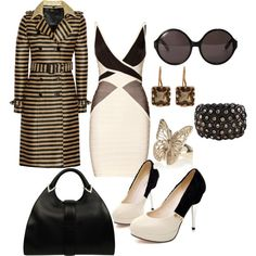 Classy Chic, created by #tes-coll on #polyvore. #fashion #style Hervé Léger Burberry Prorsum
