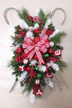 PEPPERMINT STICKS Christmas SWAG