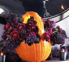 fall decorations, floral arrangements in handmade pumpkin pots and vases