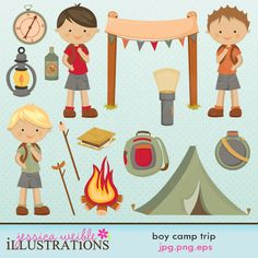 Boy Camp Trip graphic collection comes with 15 cute graphics including: 3 boy campers, a camp fire, bug spray, marshmallow on stick, hot dog on stick, knap sack or bookbag, lantern, camp sign, compass, canteen, s'more, tent and a flashlight    Graphics are made in High Quality 300 dpi and come in JPG, PNG & EPS format.