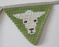 Crochet Bunting Farm Animal Bunting Banner by TheFoxintheAttic