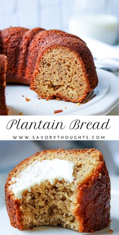 Easy Plantain Bread (Plantain Cake) - This bread is gluten-free delicious and is a perfect alternative to banana bread and a great way to use your ripe plantains. Plantain Bread, Ripe Plantain, Plantain Cake Recipe, Plantain Recipes Sweet, Gluten Free Recipes, Bread Recipes, Baking Recipes, Pastry Recipes, Potato Recipes
