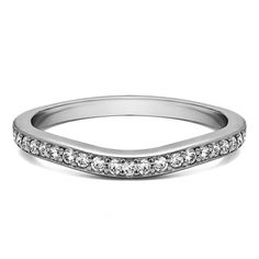 Sterling Silver Dainty Curved Tracer Band mounted with Cubic Zirconia (0.42 Cts. twt) (Yellow Plated Sterling Silver, Size 5), Women's