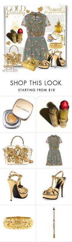 """""""Polyvore - My Magic Fairytale World"""" by octobermaze ❤ liked on Polyvore featuring AMOUAGE, Dolce&Gabbana, Revlon, Valentino, Yves Saint Laurent, Anastasia Beverly Hills, gold, polyvoreeditorial and polyvorefashion"""