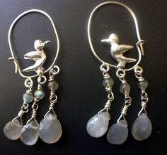 Hooped silver moonstone singing bird earrings £145.00