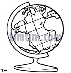 Free drawing of Earth Globe BW from the category -Science & Space - TimTim.com