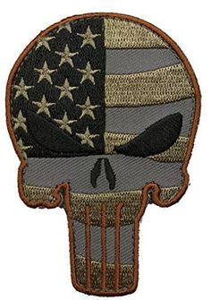d8110a06564 Velcro Tactical Punisher Skull USA Flag Patch - By Patch Squad Velcro  Patches