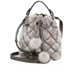 MICHAEL MICHAEL KORS Extra Small Mink Fur & Leather Bucket Bag ($2,340) ❤ liked on Polyvore featuring bags, handbags, shoulder bags, apparel & accessories, dark taupe, bucket bags, brown leather purse, leather purses, bucket shoulder bag and brown purse