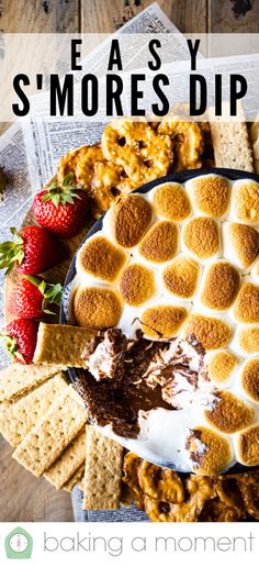 S'mores Dip Recipe: This is so easy to make, & everyone always goes nuts for it! Chocolate & marshmallow, toasted in the oven 'til warm & gooey, served with graham cracker dippers. #smores #dip #smoresdip #recipe #easy #oven #chocolatechips #chocolate #marshmallow #skillet #intheoven #recipes #dessert #diprecipe #indoor #party #dessertrecipes #baked #howtomake #recipeseasy #bakingamoment Marshmallow Dip, Recipes With Marshmallows, Chocolate Marshmallows, Candy Recipes, Dessert Recipes, Desserts, Crab Dip Recipes, Homemade Graham Crackers, Toast In The Oven