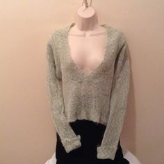 FREE PEOPLE  Minty Pastel Mohair Blend Sweater FREE PEOPLE  Soft Minty Pastel Mohair Blend Deep V-Neck Pullover Sweater! (Size S) Free People Sweaters