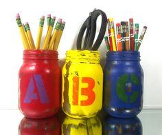 ABC and 123, Hand Painted Mason Jars - Set of 3, Painted Mason Jars -- Home Decor