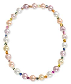 Cellini Jewelers Multicolor Pearl and Sapphire Necklace 11 X 12mm multicolor pearl necklace with 13.51 carats of multicolor sapphire connections, set in 18 karat yellow gold.