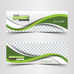 Green business abstract header Free Vector