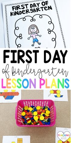 The first day of kindergarten can be stressful! It's always hard to figure out what to plan. Come read what I plan for the first day, and download my first day of kindergarten lesson plans! Beginning Of Kindergarten, Kindergarten Lesson Plans, Kindergarten Teachers, Kindergarten Worksheets, Classroom Activities, Classroom Ideas, Middle School Classroom, School Fun, School Ideas