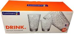 Luminarc: 20 Piece Drinkware Set - 10 Coolers & 10 Double Old-Fashioneds (Conique Hammered) by Luminarc. $39.95. 10 Coolers - 17.25 fl oz. Heavywight Glasses With Unique Patterns. 10 Double Old-Fashioneds - 12.75 fl oz. Dishwasher Safe - Ideal For Everyday Use!. Designed & Made In USA. Hip. Modern.  Celebrate in style with our conique beverageware. Luxurious, heavyweight glasses with unique patterns are great for entertaining. Generous capacities make them ideal for ev...
