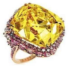 pink, white & yellow engagement ring by Graff.