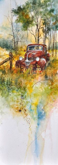 Old truck watercolor painting.