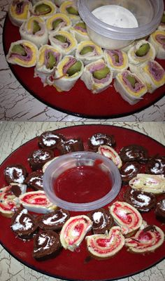 My husband LOVES sushi so for his birthday I made it sushi themed! Bought a couple of real sushi rolls and made Sandwich sushi from a pin I found here: (http://www.mommygoggles.com/sara-lee-recipes/ )  & then cut up Little Debbie swiss rolls and strawberry rolls to look like sushi & blended frozen sliced strawberries to dip the desserts in. It was great & our 2 yr old son thought he was eating sushi with us!!