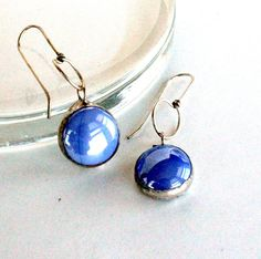 Stained Glass Jewelry Earrings  Iridescent Blue Drops by LAGlass