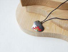 Cross-stitch Metal Minimal Necklace in Red -Orange - Unusual Minimalist Urban Jewelry.