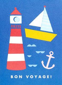 print & pattern, bon voyage, seaside, lighthouse, collage, print, design, modern, simple, sea, summer, nautical