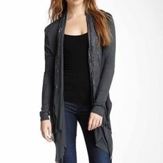 Laila Jayde Traffic In London Wrap Dark gray lightweight open front cascading cardigan with attached bead embellished scarf that can be worn just hanging down or around neck. Laila Jayde  Sweaters Cardigans