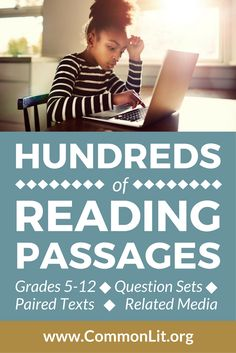 Middle and High school reading passages. Reading Comprehension Activities, Reading Passages, Reading Resources, Reading Strategies, School Resources, Reading Skills, Teaching Reading, Guided Reading, Reading Tutoring
