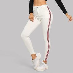 Contrast Stretchy White Skinny Jean, White / S Cut Jeans, Jeans Fit, Denim Pants, High Waist Jeans, Jeans Style, Women's Pants, Slim Hips, Fall Pants, Cotton Polyester Fabric