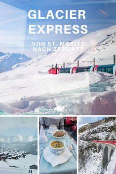 Unterwegs mit dem Glacier Express in der Schweiz von St. Moritz bis nach Zermatt. Der langsamste Schnellzug der Welt durch verschneite Landschaften und die Schweizer Berge. Alles was du dazu wissen musst: Route, beste Reisezeit, an Board essen, Highlights, Angebot usw. Zermatt, Glacier Express, St Moritz, Reisen In Europa, All Over The World, Explore, Highlights, International Food, Wallis