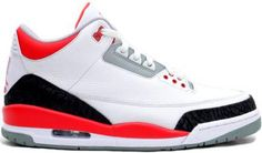 NIKE AIR JORDAN III RETRO WHITE/FIRE RED-NEUTRAL GREY-BLACK #sneaker