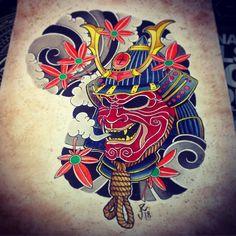 Photo by (oksana_khafizova_) on Instagram | #tattoo #tattoo3000 #tattoo3000aeroport #tattooart #tattooartist #japan #japantattoo #mask #samurai #fall #aquarelle #art #fortattoo #tattookaluga #tattooinmoscow #tattoos #lnk
