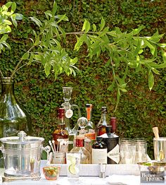 Celebrate in style with these darling DIY drinks stations that display your favorite cocktails beautifully. You can use these cocktail bar ideas for a bridal shower, wedding reception, or another fun summer get-together. Bar Drinks, Cocktail Drinks, Beverages, Alcoholic Drinks, Cheers, Mojito Drink, Gin Bar, Martini Bar, Pisco Sour