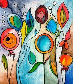 Florentinas_-_Autor_Melisa_Palferro Use a inspiration piece for class Abstract Watercolor, Watercolor Flowers, Watercolor Paintings, Painting Flowers, Simple Watercolor, Watercolor Portraits, Watercolor Landscape, Abstract Paintings, Watercolors