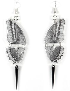 Totally want!!  Butterfly Earrings Black White