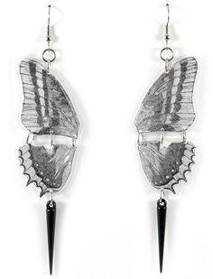 Totally want!!  Butterfly Earrings Black White