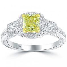 1.75 Carat Fancy Yellow Cushion Cut Diamond Engagement Ring 14k Vintage Style