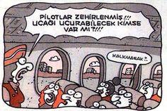- Pilotlar zehirlenmiş!!! Uçağı uçurabilecek kimse var mı?!!! + Kalkmasak?.. #karikatür #mizah #matrak #komik #espri #şaka #gırgır #komiksözler