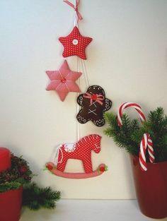 Lebkuchenmann♥Schaukelpferd♥Zuckerstange♥Girlande♥Weihnachten♥nach Tilda Art